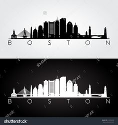 Boston USA skyline and landmarks silhouette black and white design vector illustration. & Glitter Boston Skyline Print - Home decor and scenic wall art Boston ...