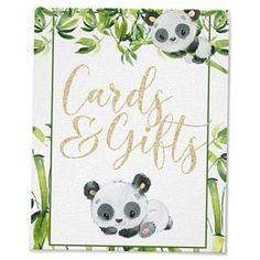 Cute watercolor baby panda and bamboo leaves green and white baby shower cards and gifts sign. Perfect for a gender neutral baby shower or birthday party. Check out my shop page for matching plates napkins etc. Baby Shower Signs, Baby Shower Cards, Baby Shower Parties, Shower Gifts, Shower Party, Baby Cards, Shower Favors, Panda Baby Showers, White Baby Showers