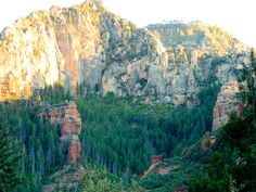 Oak Creek Canyon wall illuminated by the setting sun