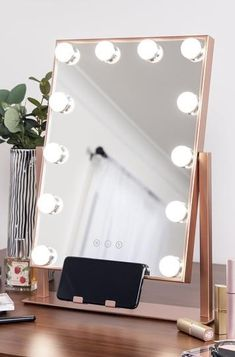 Twelve LED light bulbs achieve the perfect balance of tone and soft lighting in adjustable brightness and three-color temperatures: cold white, warm w Small Vanity Mirror, Mirrors For Makeup, Lighted Vanity Mirror, Makeup Mirror With Lights, Makeup Vanities, Makeup Vanity Decor, Girls Mirror, Vanity Mirrors, Bathroom Vanities