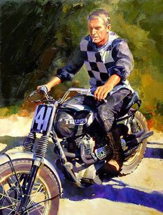 ... painting (28″ x 37″) by Tm Fritz of Steve McQueen on a Triumph