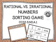 Rational vs. Irrational Numbers Sorting Activity is a quick and engaging way for students to practice identifying rational and irrational numbers quickly.  It can be used as cyclical review of the difference between rational and irrational numbers.  Supports CCSS 8.NS.A.1