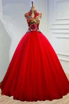 Noble fashion bride red wedding dress Sexy floral appliques embroidery tulle prom dress high neck backless prom Gowns robe Long Prom Dresses 2017