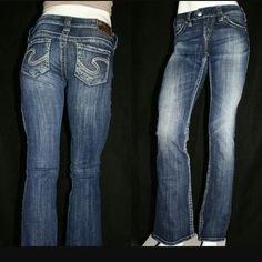 Silver Jeans Silver Jeans Co.  Tuesday Jean. Low rise,  boot cut Jean.  Long inseam great for tall girls or to wear with heels. Slightly distressed on hems (from factory) and a very slight wear near front left pocket. Silver Jeans Jeans Boot Cut