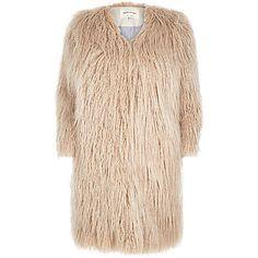 Cream premium shaggy faux-fur coat - £100 #RiverIsland