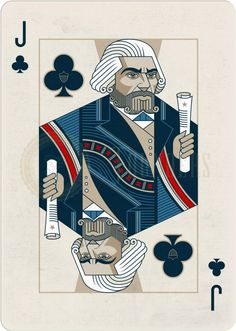 Playing Cards - Jack Of Clubs, Frederick Douglass, Founders by the US Playing Card Company (USPCC) - playingcards, playingcardsart, playingcardsforsale, playingcardswiththefamily, playingcardswithfamily, playingcardsgame, playingcardscollection, playingcardstorage, playingcardset, playingcardsproject, cardscollector, playingcard, design, illustration, cards, cardist