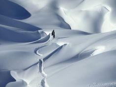 Snowboarder Riding in Powder Snow