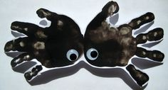Kids hand print spider craft.  Don't cut out, leave on card stock, draw a line from the top