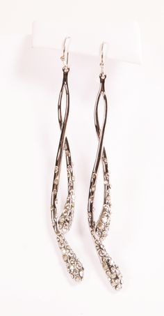 Alexis Bittar crystal encrusted silver dangling earrings
