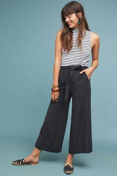 Cloth & Stone Namua Wide-Leg Pants by in Black Size: Xl, Women's at Anthropologie - Products - Mode Outfits, Casual Outfits, Fashion Outfits, Womens Fashion, Jeans Fashion, Modest Fashion, Fashion Tips, Formal Pants Women, Pants For Women