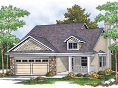 Cottage House Plan with 1348 Square Feet and 2 Bedrooms from Dream Home Source | House Plan Code DHSW52152