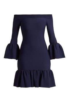 Click here to buy Jonathan Simkhai Off-the-shoulder fluted-hem knit dress at MATCHESFASHION.COM