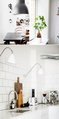 I'm partial to the gray/black grout around the tiles since I have that in my kitchen, too.  Love the collection of wood cutting boards against the smooth, white tiles.  the shutterbugs: sara landstedt. / sfgirlbybay