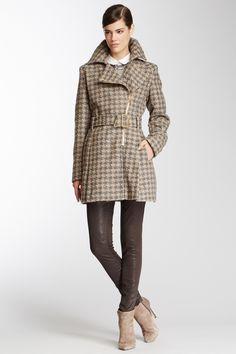 Kenneth Cole Asymmetrical Zip Boucle Coat