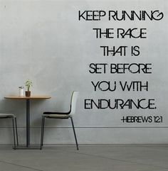 Wall poster - keep running race Hebrews 12:1, inspirational quotes for runners. Motivational running quotes. LOVELY! $19.99