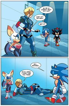 See more 'Sonic the Hedgehog' images on Know Your Meme! Bd Comics, Funny Comics, Shadow The Hedgehog, Sonic The Hedgehog, Jagodibuja Comics, Sonic Funny, Rouge The Bat, Comic Art Girls, Sonic Franchise
