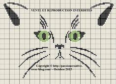 Grille gratuite point de croix : Regard de chat - Le blog de Isabelle