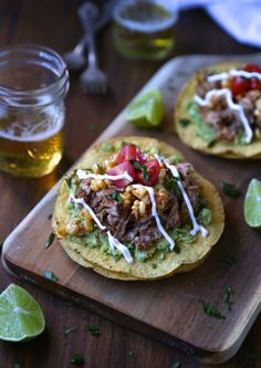 Slow Cooker Spiced Baby Back Rib Tostadas with Corn Relish & Creme