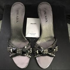 SALE ‼️New Prada sandals with Shoe Bags Elegant Prada Sandals with spare heel lifts Prada Shoes Sandals