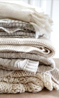 Soft Textured Knit Throws in Fresh Creams would be beautiful, and right up your alley, since you love knitting.
