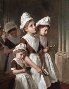 Foundling Girls in their School Dresses and, alternately, Young Girls at Prayer in the Chapel, oil on canvas by Sophie Gengembre Anderson, French-born British artist. Anderson is loosely associated with the Pre-Raphaelite movement. William Adolphe Bouguereau, Sophie Anderson, Walter Anderson, English Artists, Pre Raphaelite, Romulus And Remus, Victorian Art, Gustav Klimt, Kirchen