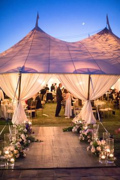 Elegant Wedding Tent Reception Decorations. Outdoor romantic wedding decor. Wedding tent lighting and layout idea. Elegant Tent Wedding With A Rustic & Ethereal Twist. - Acqua Photo Photography #wedding #decor #weddingdecorations #weddings #weddinginspiration #weddingideas #weddingdecor #ido #bellethemagazine #pretty #weddingflowers #floral #candles #weddingplanning
