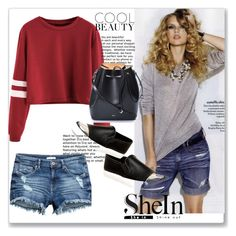 """""""Win SheIn Burgundy Varsity Striped Sleeve Crop T-shirt"""" by nedim-848 ❤ liked on Polyvore featuring Steve Madden and N°21"""