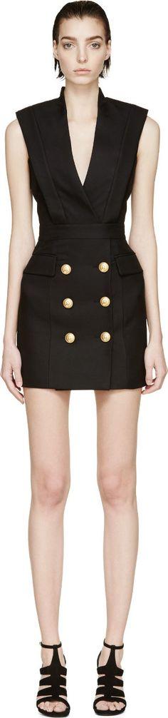 Balmain - Black Sleeveless Blazer Dress