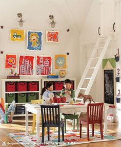 Color scheme for bonus room / playroom!  Love the idea of decorating with the kids' art!
