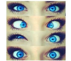 blue eyes! I wish my eye were this color! Contacts?