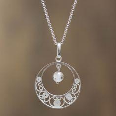 Peruvian Sterling Silver Filigree Necklace - Junin Glam   NOVICA