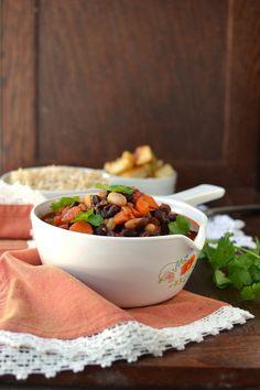 Vegetarian Three Bean Stew with Roasted Potatoes Recipe | cookshideout