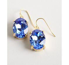 W/A Studios deep blue drop crystal earrings