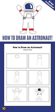 How to Draw an Astronaut Step by Step for Kids Space Drawings, Art Drawings For Kids, Drawing For Kids, Easy Drawings, Train Activities, Space Activities, Activities For Kids, Astronaut Craft, Astronaut Drawing