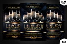 Luxury Champagne Flyer Template by WG-VISUALARTS on @creativemarket