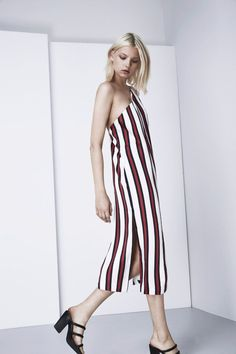 Finders Keepers More Time Dress in burgundy/navy stripe is a relaxed fit, vertically striped, one-shouldered dress that falls to the mid-calf with a double strap detail from the shoulder to around the back, a low back, two side splita   FX160422D PIPE AND ROW Boutique
