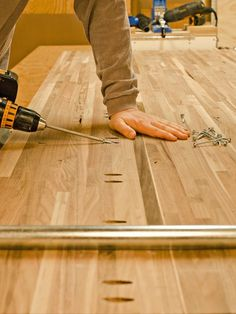 Pre-Drilling Holes for Butcher-Block Countertop