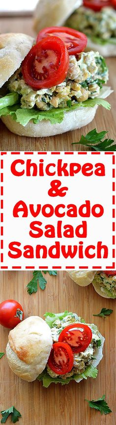 Mashed Chickpea & Avocado Salad Sandwich features chickpeas, avocado ...
