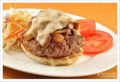 Open-Faced Mushroom-Swiss Burger Juicy, open-faced burgers flavored with garlic, topped with sautéed onions, mushrooms and Swiss cheese and served on a garlic-toasted English muffin.