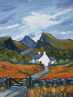 David BARNES artist, paintings and art at the Red Rag British Art Gallery Watercolor Landscape, Landscape Art, Landscape Paintings, Watercolor Art, Landscapes, Farm Paintings, Cottage Art, Mountain Art, Naive Art