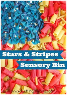 """Fourth of July """"Stars and Stripes"""" Sensory Bin made from dyed pasta. Fun for toddlers and preschoolers for Independence Day."""