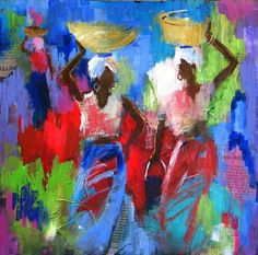 By Soraya French - African Posted by Laleh African Artwork, African Art Paintings, French Paintings, African American Artist, Native American Art, Haitian Art, Africa Art, Tribal Art, Indian Art
