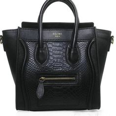 Celine Luggage Nano Shopper Snake Leather Bag (Black)