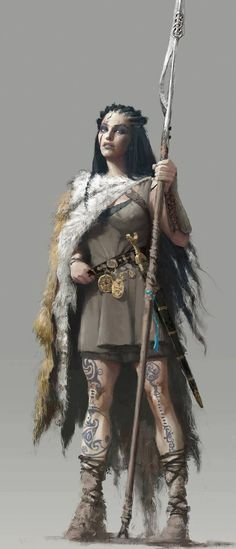 female fighter / warior with spear furs and tribal tattoos DnD / PAthfinder ch. - female fighter / warior with spear furs and tribal tattoos DnD / PAthfinder character concept Ilu - Fantasy Warrior, Fantasy Girl, Chica Fantasy, Fantasy Women, Fantasy Rpg, Medieval Fantasy, Woman Warrior, Elf Warrior, Dnd Characters