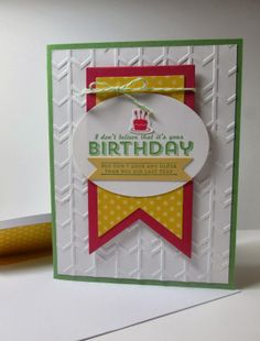 Stamps: See Ya Later.  Paper:  Wild Wasabi, Rose Red,So Saffron.  Ink: Wild Wasabi, Rose Red.  Accessories: Banners Framelits Dies, Tombow Multi-Purpose Adhesive, Arrows Textured Impressions Embossing Folder.