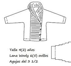 JUBILOCIOS: CHAQUETA TRENCA Knitting Paterns, Baby Knitting, Baby Cardigan, Knit Crochet, Symbols, Letters, Angeles, Kimono, Knit Jacket