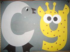 """Gg"" Letter of the week art project: goose & giraffe"