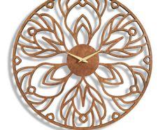 Desert Bloom Large Wall Clock. Laser Cut Modern Minimal