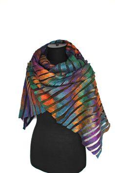 Nuno felted striped scarf by Marina Shkolnik