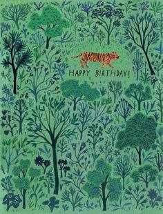 Little Tiger Forest Birthday Card by Becca Stadtlander #illustration